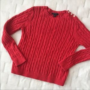 Lands End Cable Knit Red Sweater Size MP
